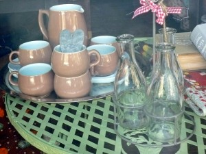 Vintage Milk Bottles in Window, Gathering Moss
