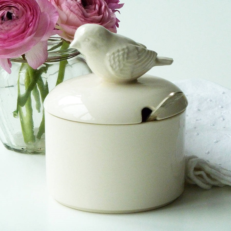 Ceramic bird sugar bowl