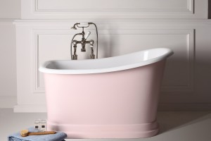 Small freestanding bath makes big bathroom splash