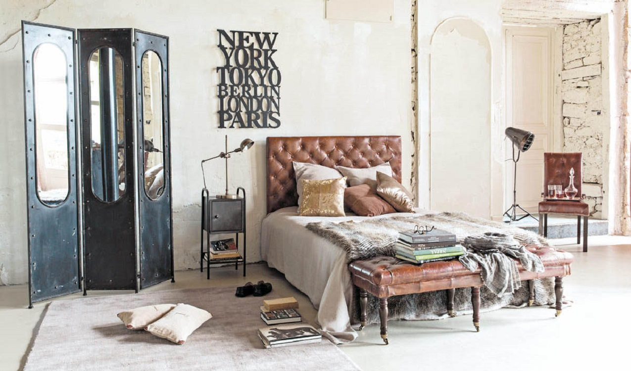 Vintage industrial furniture designs revive bedroom spaces - Chambre ado style industriel ...