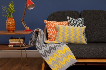 knitted cushions combine colourful patterns with comfort