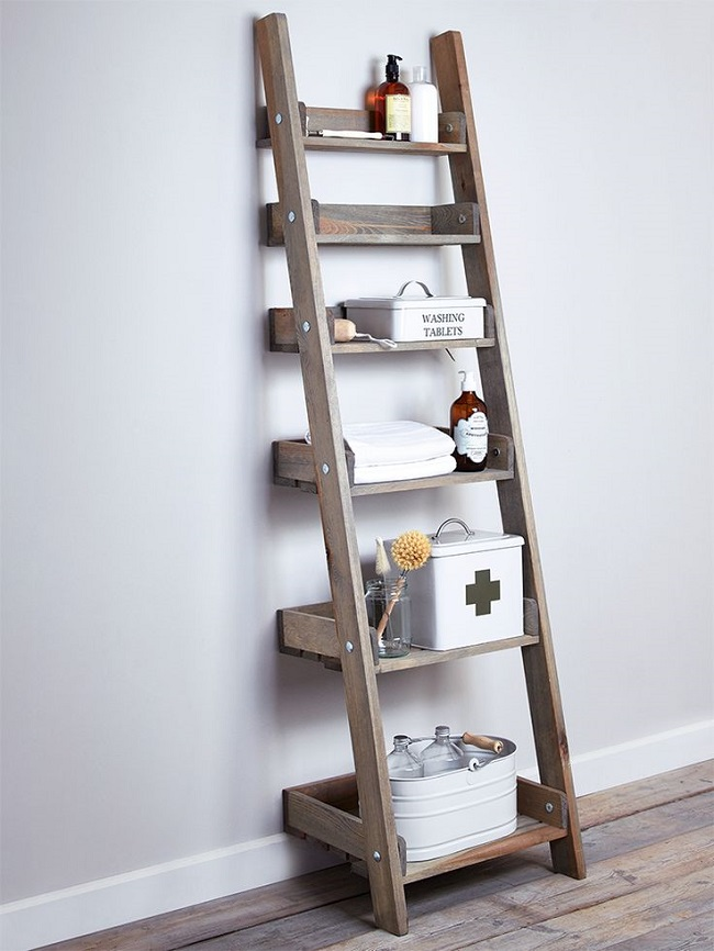Small Wood Shelves : small bathroom storage solutions wooden leaning ladder shelf