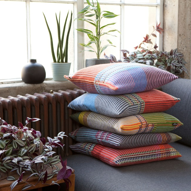 wallace sewell, lambswool pinstripe cushions