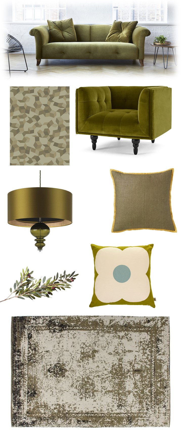 olive green living room ideas, moodboard